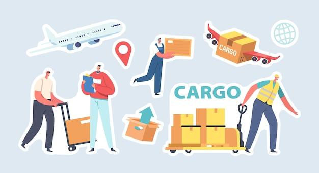 Naklejki dostawy ładunku. koncepcja logistyczna transportu przechowywania. postacie pracowników dostarczające ładunek do odbiorców drogą lądową i powietrzną. usługi pocztowe lub logistyczne. ilustracja wektorowa kreskówka ludzie