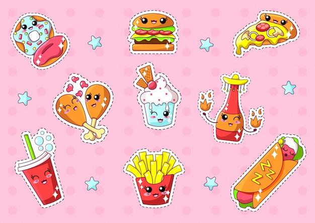 Naklejki fast food kawaii z uśmiechniętymi twarzami.