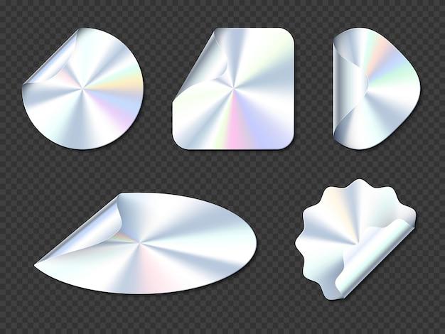 Naklejki holograficzne, etykiety holograficzne z zawijanymi krawędziami.