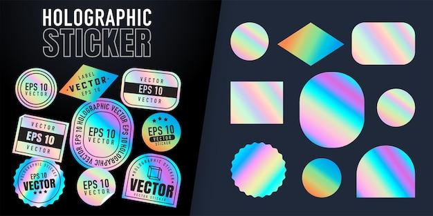 Naklejki holograficzne. etykiety hologramowe o różnych kształtach. kolorowe pusta tęcza błyszczące emblematy, etykieta. naklejki papierowe. ilustracja wektorowa
