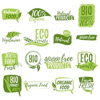 Naklejki i odznaki na żywność ekologiczną i napoje