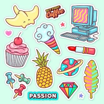Naklejki ikony ręcznie rysowane doodle