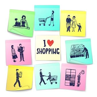 Naklejki karty supermarketów w stylu notatek
