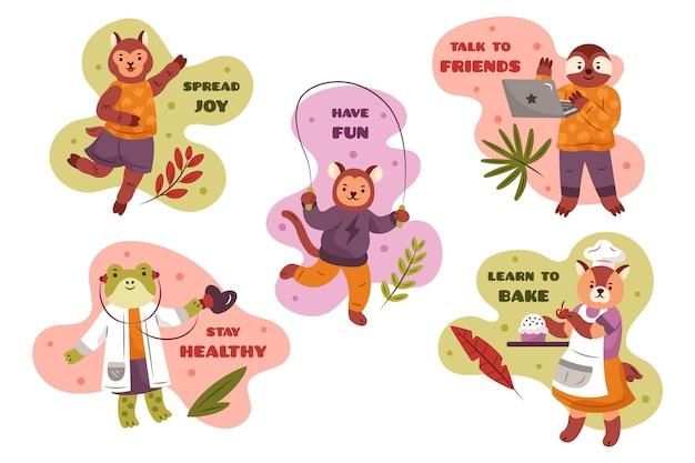 Naklejki Koncepcyjne Koronawirusa Z Uroczymi Zwierzętami Darmowych Wektorów