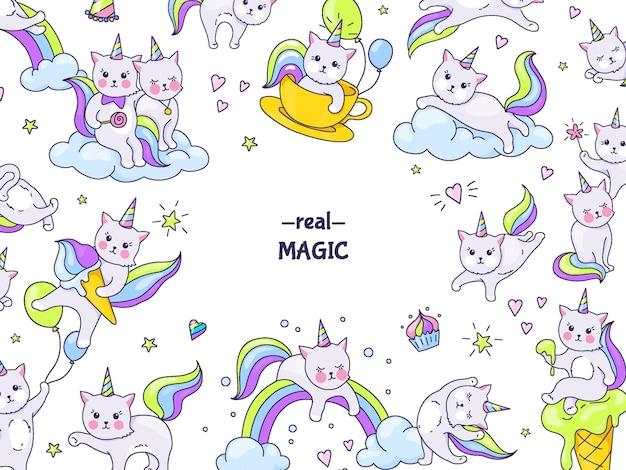Naklejki koty jednorożca. granica zabawnych postaci zwierzęcych, doodle kocięta na tęczach i chmurach z twarzami kawaii. wektor ręcznie rysowane zestaw kociąt postaci z kreskówek