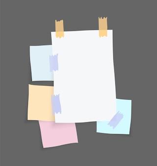 Naklejki na notatki papierowe. miejsce na notatki na kartkach papieru.