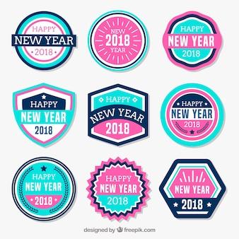 Naklejki na nowy rok w kolorze różowym i niebieskim
