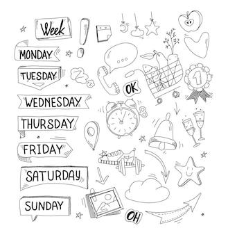 Naklejki na planer tygodnia poniedziałek wtorek piątek niedziela doodle i płaska konstrukcja harmonogramu