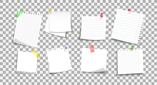 Naklejki papierowe notatki. zestaw arkuszy z guzikiem i taśmą samoprzylepną. uwaga do wiadomości.