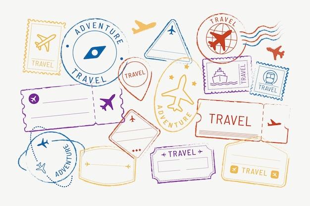 Naklejki podróżne i zestaw odznak