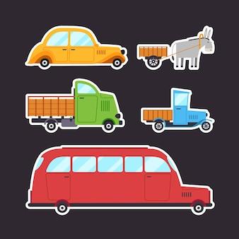 Naklejki pojazdów retro w stylu cartoon.