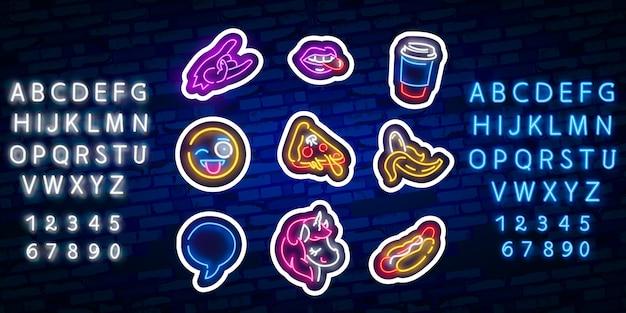 Naklejki pop art. pop-artowe łatki, szpilki i odznaki. neonowy znak, emblemat.
