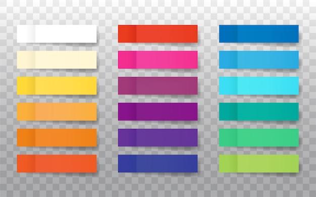Naklejki post uwaga na przezroczystym tle. zestaw zakładek realistycznego koloru papieru. papierowa taśma klejąca z cieniem.