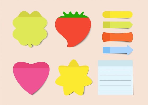 Naklejki samoprzylepne. zestaw ilustracji karteczek. notatnik pusty arkusz papieru do planowania i harmonogramowania. kolorowe taśmy klejące z szablonem cienia.