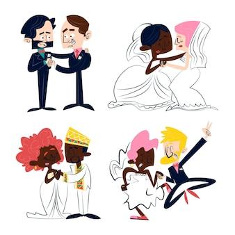 Naklejki ślubne retro kreskówka z różnymi typami par