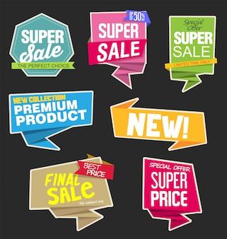 Naklejki sprzedaży i tagi lub etykiety na dymku