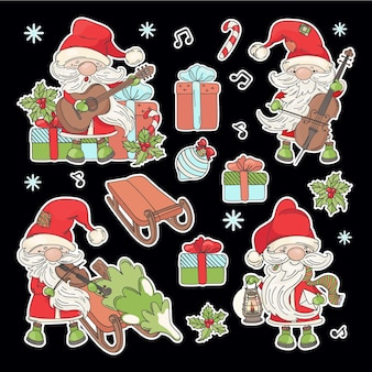 Naklejki świętego mikołaja kreskówka mikołaj z instrumentami muzycznymi choinka i prezenty noworoczne do druku i cięcia ploterem zestaw ilustracji wektorowych clipart