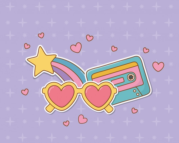 Naklejki w stylu retro z kasetami w stylu kawaii