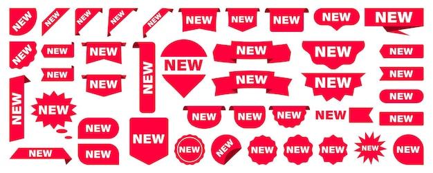 Naklejki, wstążki i tagi. nowości, czerwony sztandar. zestaw tagów produktów sklepowych, plakatów i banerów etykiet lub sprzedaży, naklejki na nowe kolekcje. rabatowe czerwone wstążki, banery zakupowe, tag wyprzedaży