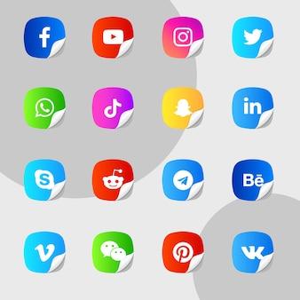 Naklejki z ikonami mediów społecznościowych odklejają pakiet kolekcji