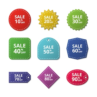 Naklejki z rabatem. etykiety specjalne oferty sprzedaży. tagi wektorowe towarów