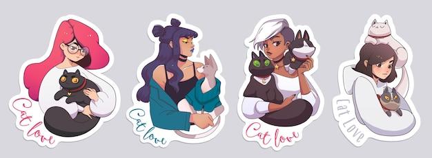 Naklejki z uroczymi dziewczynami i ich kotami