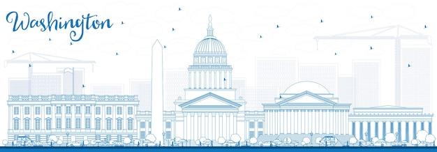 Nakreśl panoramę waszyngtonu z niebieskimi budynkami. podróże służbowe i koncepcja turystyki z historycznymi budynkami. obraz dla plakatu banerowego prezentacji i witryny sieci web.