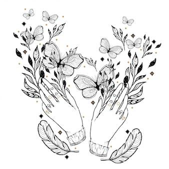 Nakreślenie graficzna ilustracja z mistycznymi i okultystycznymi ręka rysującymi symbolami.