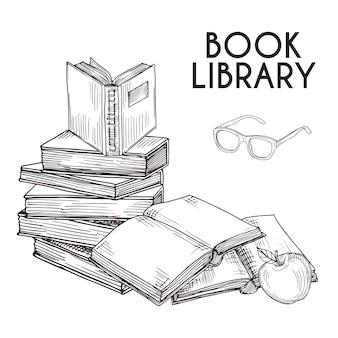 Nakreślenie książki i szkło odosobniona ilustracja. stos książek wektor koncepcji