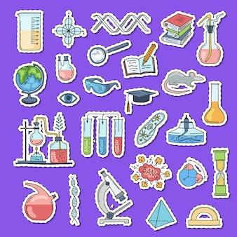 Nakreślone naklejki z elementami nauki lub chemii