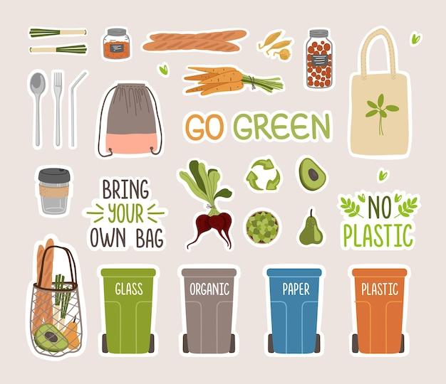 Nalepki i napisy zero waste. ekologiczne elementy stylu życia.