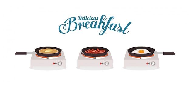 Naleśnik na bekonie śniadanie i jajko projekt, jedzenie posiłek świeży produkt naturalny premia rynkowa i gotowanie tematu ilustracji wektorowych