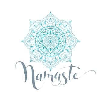 Namaste jest cześć po hindi. kwiat lotosu na białym tle