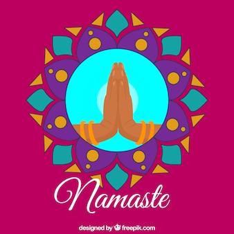 Namaste pozdrowienie tła z mandali