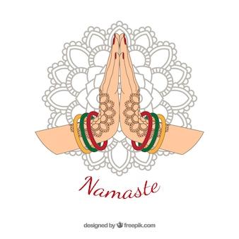 Namaste pozdrowienie tła z wyciągnąć rękę mandali