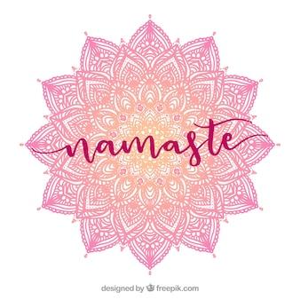 Namaste tła z ręcznie rysowane mandali różowy