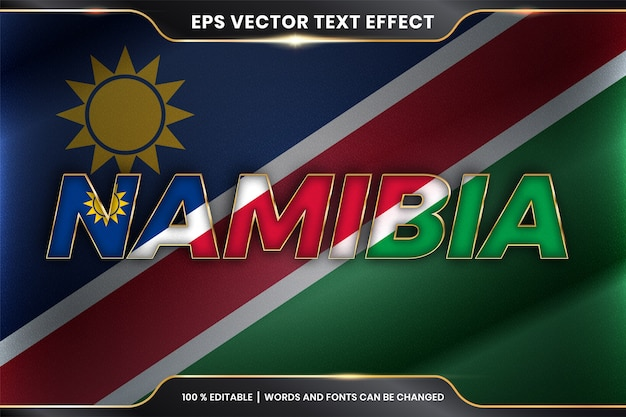 Namibia z flagą narodową kraju, styl edytowalnego efektu tekstowego z koncepcją koloru złota