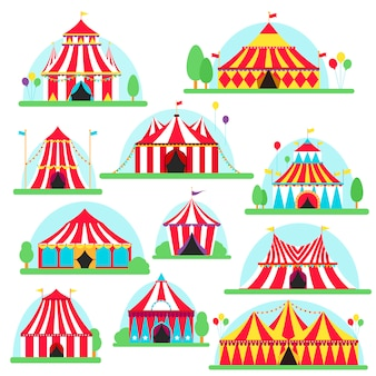 Namiot cyrkowy namiot w paski i flagi