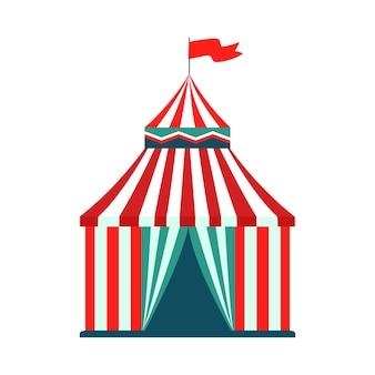 Namiot cyrkowy - odosobniona atrakcja karnawałowa w parku rozrywki