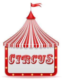Namiot cyrkowy w paski na białym tle