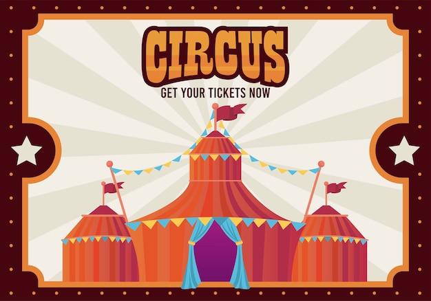 Namiot cyrkowy z ilustracją plakatu rozrywkowego napisu
