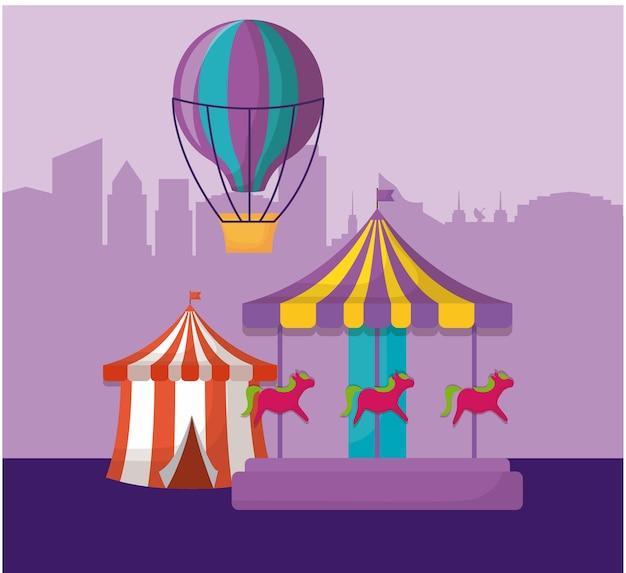 Namiot cyrkowy z karuzelą i balonem na ogrzane powietrze
