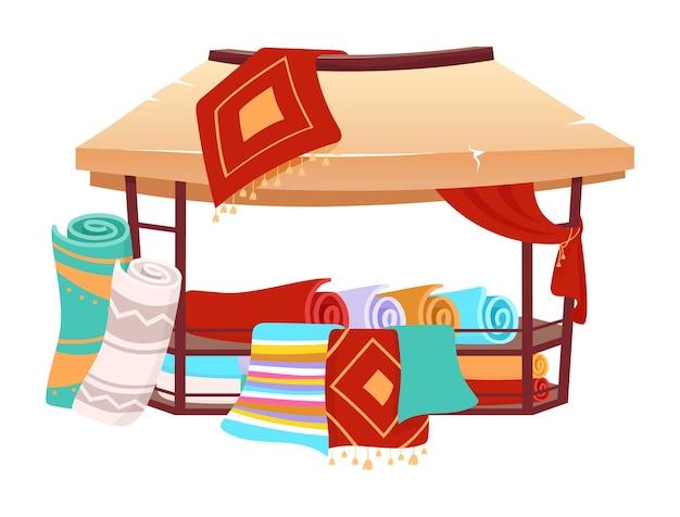 Namiot handlowy suk z ręcznie robionymi tureckimi dywanami w kreskówce. markiza z targu wschodniego, baldachim z perskimi dywanami, płaski kolor kilimy. namiot azjatyckich targów na białym tle
