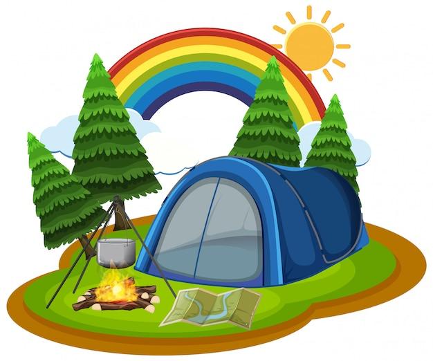 Namiot i ognisko w parku