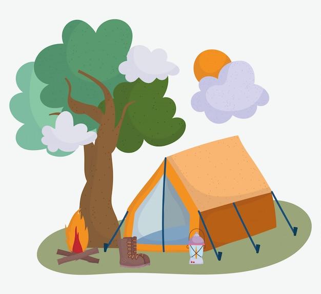 Namiot kempingowy boot ognisko latarnia treevacations aktywność przygoda projekt