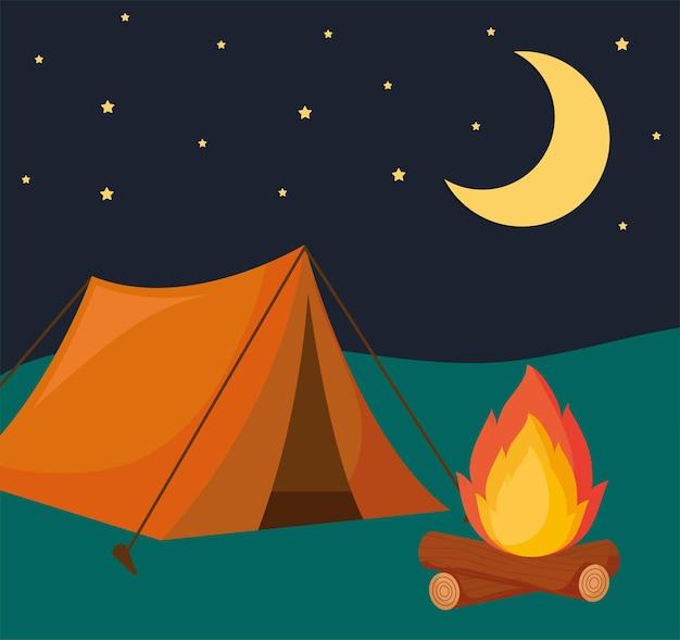 Namiot kempingowy, ogień i księżyc w nocy