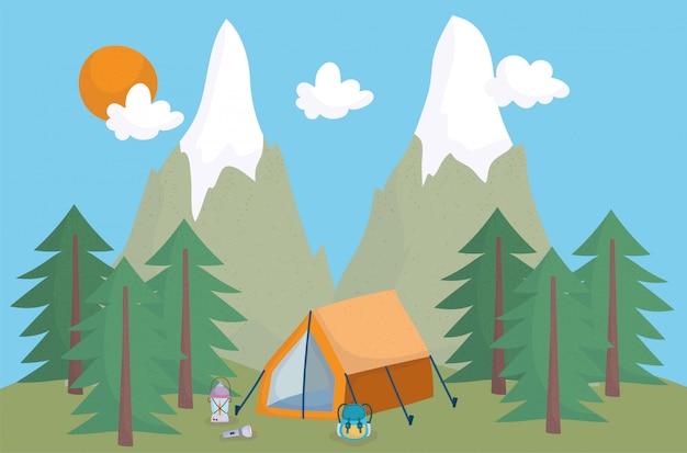 Namiot kempingowy plecak latarnia góry wakacje aktywność przygoda projekt