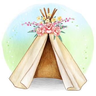 Namiot plemienny akwarela boho wiosna
