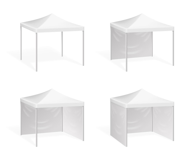 Namiot reklamowy na imprezy plenerowe. zadaszenie przed słońcem, ilustracja zadaszenie do pawilonu handlowego