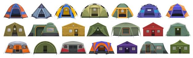 Namiot sklep kreskówka zestaw ikon. baldachim ilustracji na białym tle. namiot ikona kreskówka zestaw.